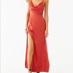 Forever 21 Rust Cowl Neck Maxi Dress